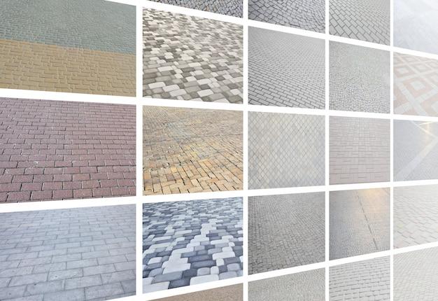 Un collage di molte immagini con frammenti di piastrelle di pavimentazione close-up Foto Premium