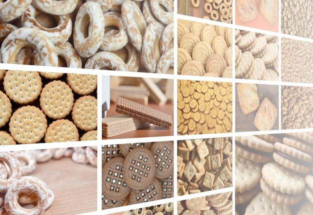 Un collage di molte immagini con vari dolci close-up. Foto Premium