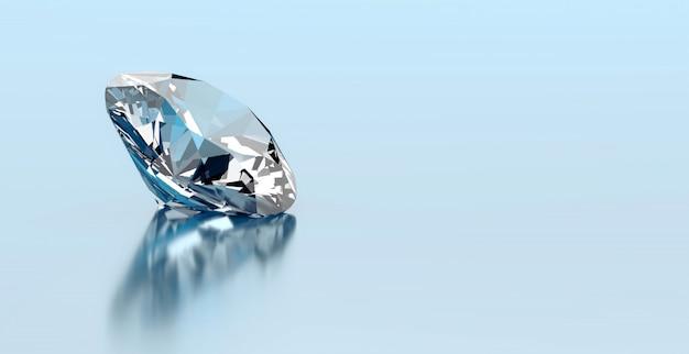 Un diamante rotondo disposto sul fondo di riflessione, rappresentazione 3d. Foto Premium