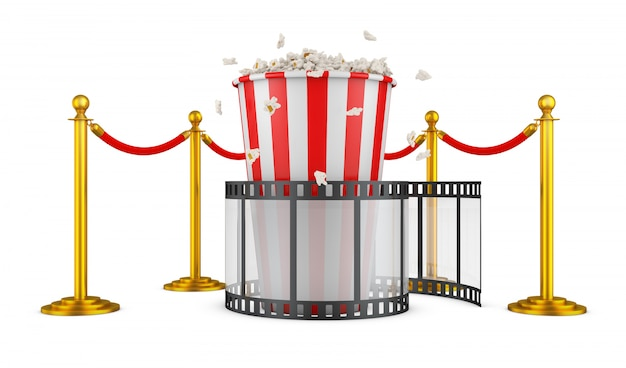 Un film e popcorn su uno sfondo di pilastri con una corda rossa. rendering 3d. Foto Premium