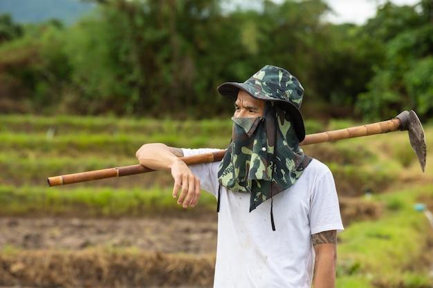 Un giovane agricoltore che guarda i suoi campi di riso. Foto Gratuite