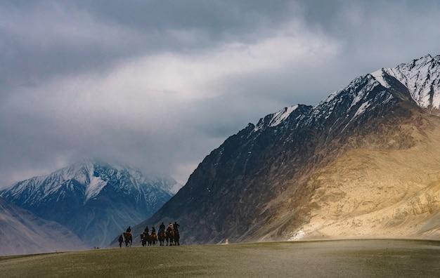 Un gruppo di persone ama cavalcare un cammello camminando su una duna di sabbia a hunder Foto Premium