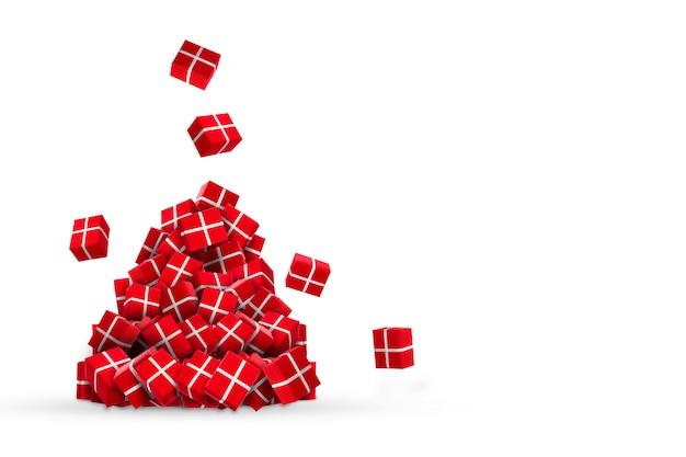 Un'intera montagna di regali rossi di capodanno che cadono dal soffitto su bianco Foto Premium