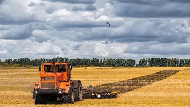 Un moderno trattore arancione ara il campo di grano dorato della terra Foto Premium