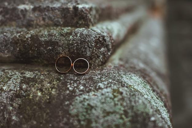 Un primo piano di due fedi nuziali che si trovano su una pietra Foto Premium