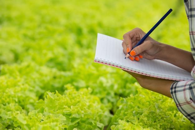 Un quaderno nelle mani di una giovane donna nella scuola materna. Foto Gratuite