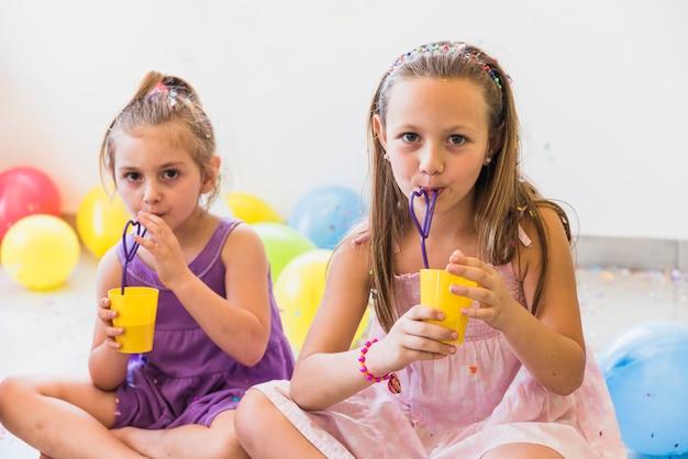 Un ritratto di due sorelle sveglie che bevono succo con paglia a casa Foto Gratuite