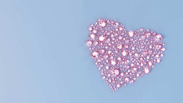 Un sacco di pietre preziose sparse sulla superficie a forma di cuore. illustrazione 3d Foto Premium