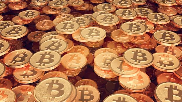 Una serie di monete con l'immagine del logo bitcoin Foto Premium