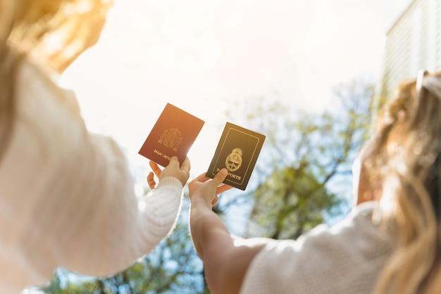 Una vista aerea di due turista femminile alzando le braccia mostrando il passaporto contro il cielo Foto Gratuite