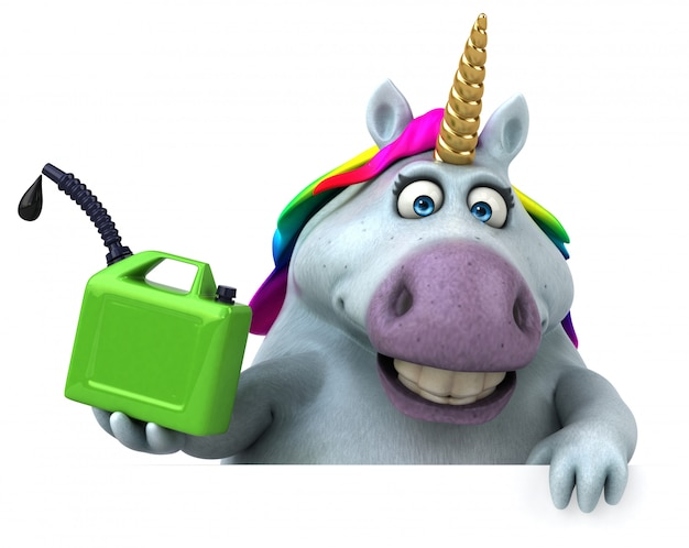 Unicorno divertente illustrazione 3d Foto Premium