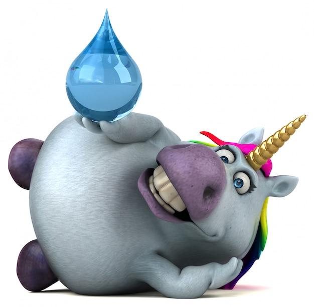 Unicorno divertente - illustrazione 3d Foto Premium