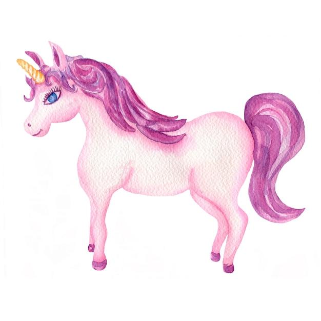 Unicorno rosa e viola dell'acquerello Foto Premium