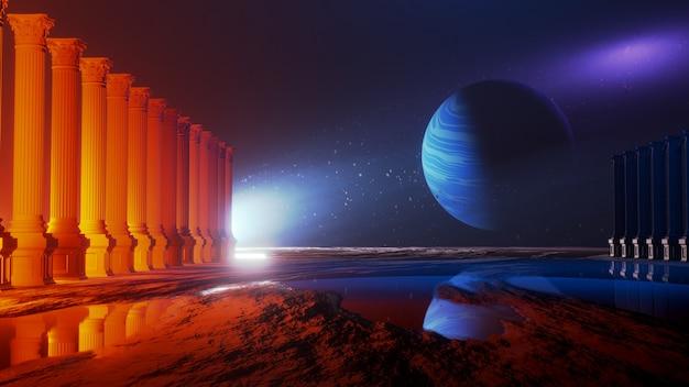 Universo e spazio, esplorazione della superficie del pianeta. Foto Premium