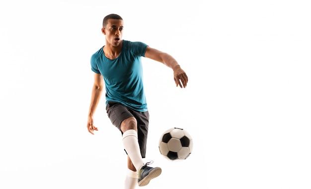 Uomo afroamericano del giocatore di football americano Foto Premium