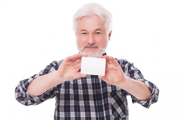 Uomo anziano bello con carta Foto Gratuite