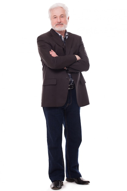 Uomo anziano bello con la barba grigia Foto Gratuite
