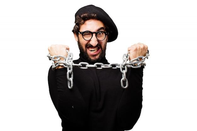 Uomo arrabbiato con le mani incatenate scaricare foto gratis