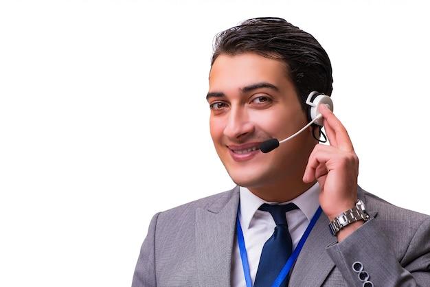 Uomo bello con la cuffia avricolare isolata su bianco Foto Premium