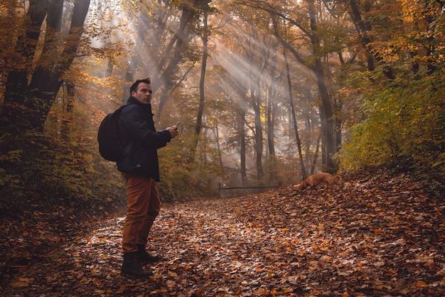Uomo che utilizza telefono nella foresta Foto Premium