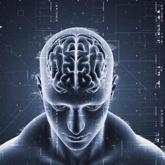 Uomo con cervello evidenziato Foto Gratuite