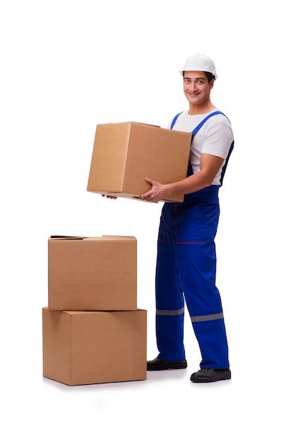 Uomo con le scatole isolate su bianco Foto Premium