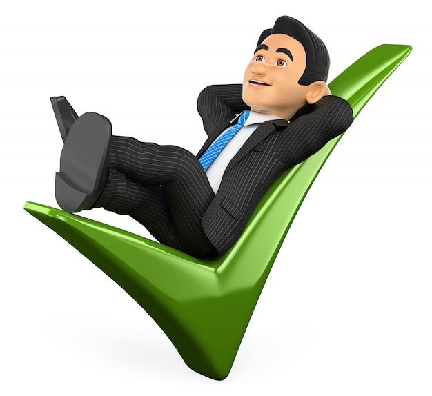 Uomo d'affari 3d che si trova su un segno di spunta verde Foto Premium