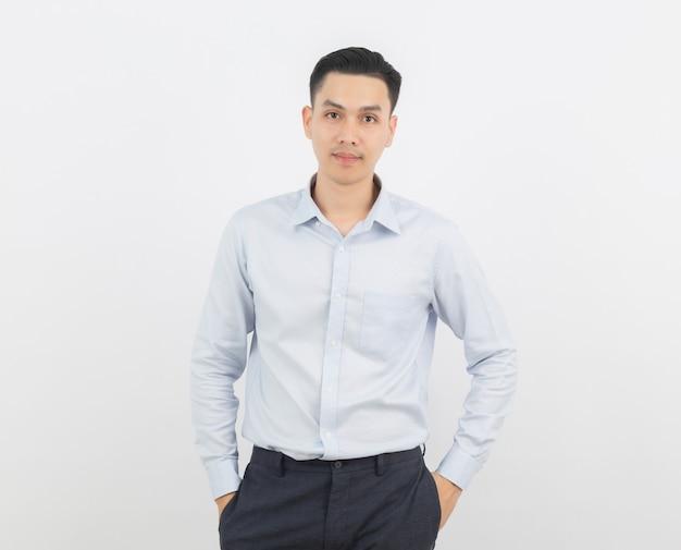 Uomo d'affari asiatico isolato su sfondo bianco Foto Premium