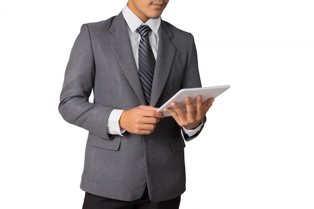Uomo d'affari che lavora con tablet Foto Premium