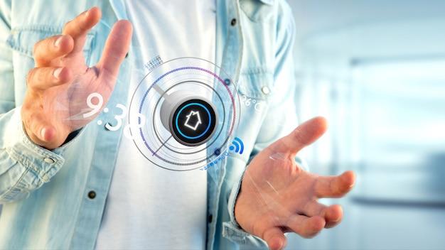 Uomo d'affari che tiene un bottone di un'applicazione di automazione della casa astuta, rappresentazione 3d Foto Premium