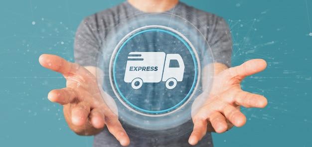Uomo d'affari che tiene un bottone veloce di consegna con la rappresentazione della connessione 3d Foto Premium