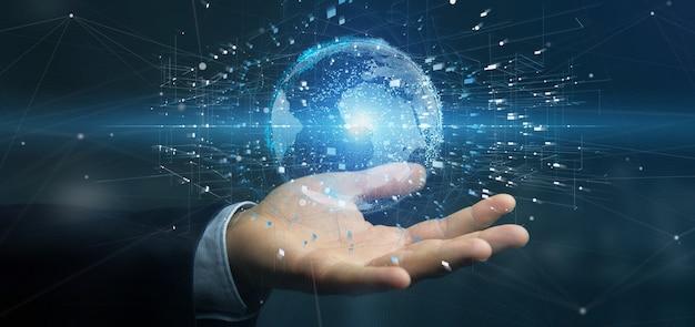 Uomo d'affari che tiene un globo della terra di dati Foto Premium