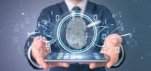 Uomo d'affari che tiene un'identificazione digitale dell'impronta digitale e una rappresentazione di codice binario 3d Foto Premium