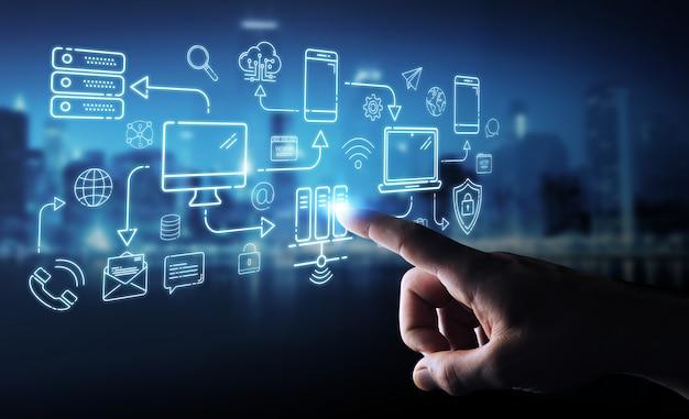 Uomo d'affari che usando i dispositivi di tecnologia e l'interfaccia della linea sottile delle icone Foto Premium