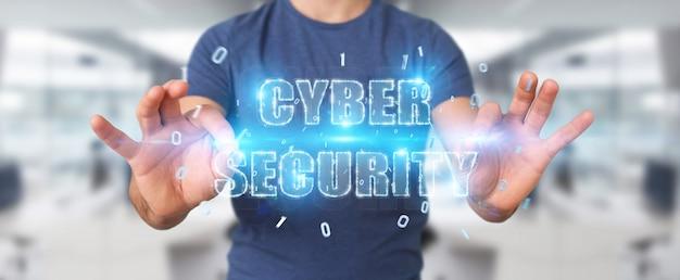Uomo d'affari che usando l'ologramma cyber del testo di sicurezza Foto Premium