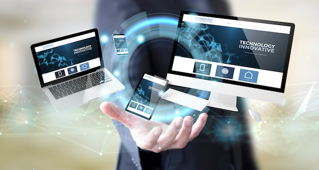 Uomo d'affari con il sito web innovativo di tecnologia digitale Foto Premium