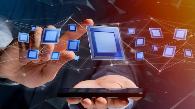 Uomo d'affari facendo uso di uno smartphone con un chip di unità di elaborazione e una connessione di rete - 3d rendono Foto Premium
