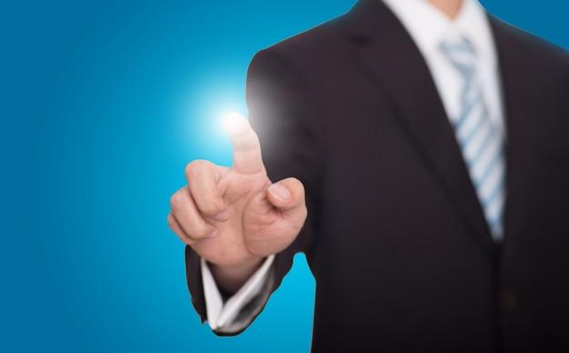 Uomo d'affari vago con un dito luminoso Foto Gratuite