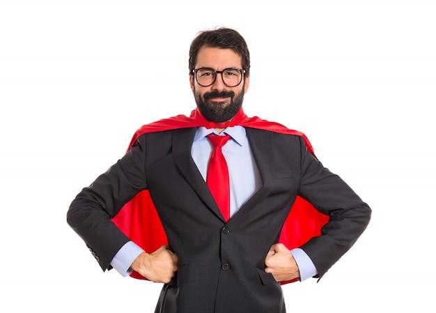 Uomo d'affari vestito come supereroe Foto Gratuite