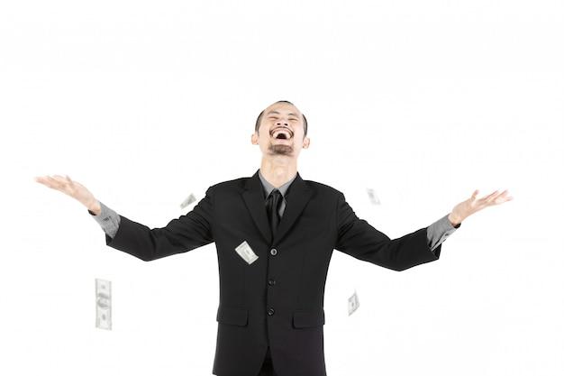Uomo di affari con soldi isolati su bianco Foto Premium