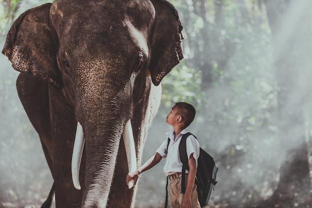 Uomo e bambini che vanno nella giungla con l'elefante, momenti di stile di vita dal nord della thailandia Foto Premium