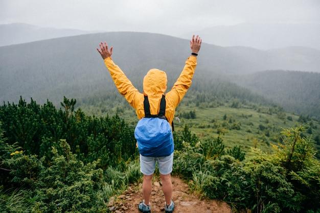 Uomo felice che sta sopra la montagna. viaggiatore che gode della vista della natura. Foto Premium