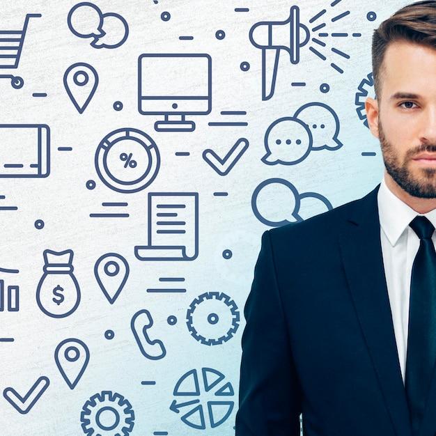 Uomo in tuta con il concetto di business Foto Gratuite