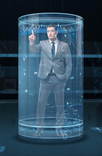 Uomo nel concetto di social network Foto Premium