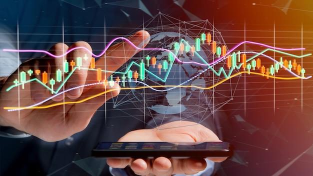 Usng dell'uomo d'affari uno smartphone con un 3d rendono la visualizzazione di informazioni di commercio di borsa valori Foto Premium