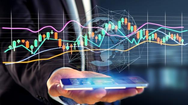 Usng dell'uomo d'affari uno smartphone con un 3d rendono la visualizzazione di informazioni di commercio di scambio di borsa sull'interfaccia futuristica Foto Premium