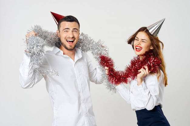 Vacanze uomo e donna, feste aziendali natale e capodanno Foto Premium