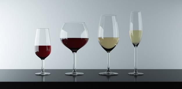 Vari tipi di bicchieri per bere vino rosso, bianco e rosa. Foto Premium