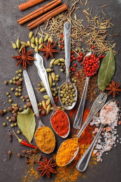 Varietà di spezie naturali, condimenti ed erbe in cucchiai sul tavolo di pietra - paprika, coriandolo, cardamomo, curcuma, rosmarino, sale, pepe, cumino, peperoncino, cannella, chiodi di garofano, anice stellato Foto Premium