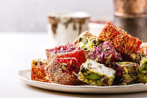 Varietà di turkish delight Foto Premium